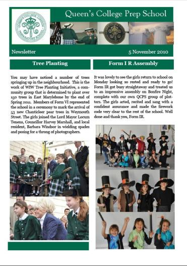 Queens College Prep Newsletter November 2010