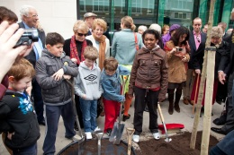 All Souls CE Primary School kids' work is all done at the Bolsover St tree planting
