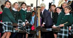 Barbara Windsor and Queens College Prep School on Weymouth Street London