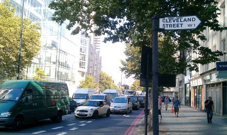 Heavy traffic and pollution on Euston Road road impacts Fitzrovia