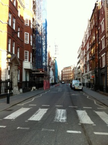 Fitzrovia South - Newman St. Facing North from junction with Eastcastle St.