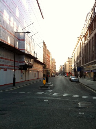 Fitzrovia South - Berners St. Facing South from junction with Eastcastle St.