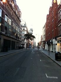 Fitzrovia South - Eastcastle St. Facing West from junction with Berners St.