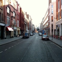 Fitzrovia South - Eastcastle St. Facing East from junction with Gt. Titchfield St.