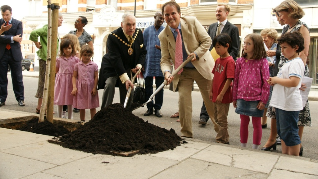 Mark Field MP and Deputy Lord Mayor of Westminster Cllr. Dr.Nemeth plant the Ceremonial Tree on Berners Street