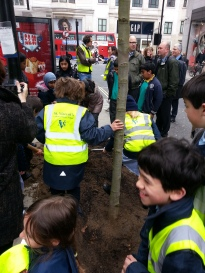 All together tree planting on Great Portland Street