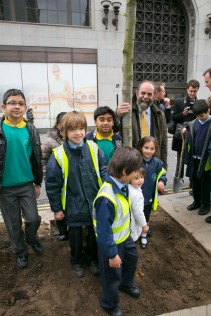 Tree planting nr London's Oxford Street